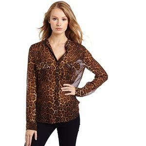 BCBG MAXAZRIA Anderson silk leopard print blouse